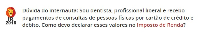 imposto de renda dentista